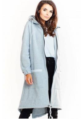 Sivá teplá dlhá mikina s kapucňou pre dámy