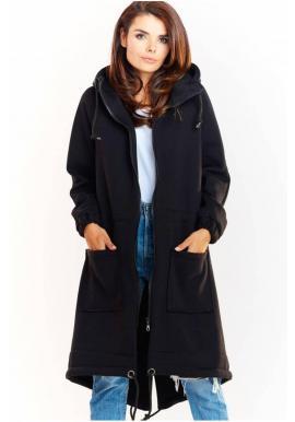 Dámska teplá dlhá mikina s kapucňou v čiernej farbe