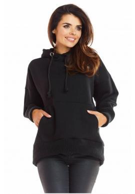 Voľná dámska mikina čiernej farby s kapucňou