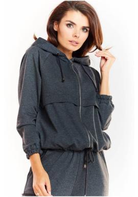 Tmavosivá pohodlná mikina s kapucňou pre dámy