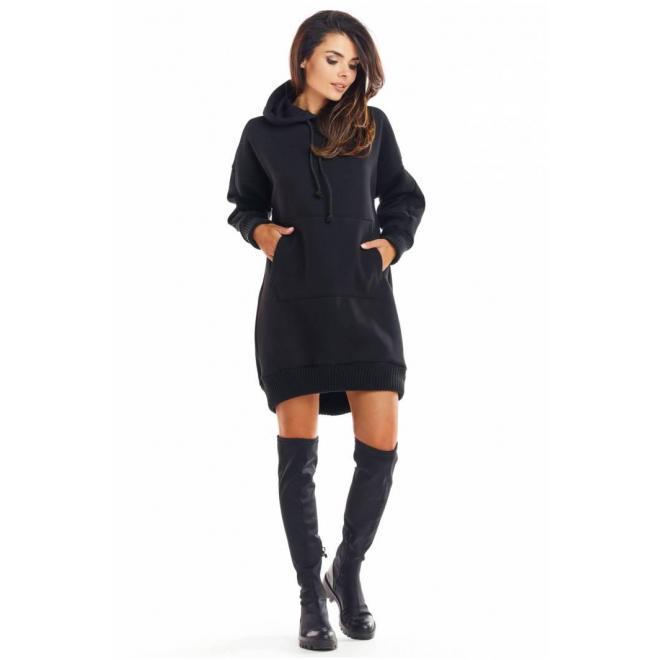 Čierna oteplená mikina s kapucňou pre dámy