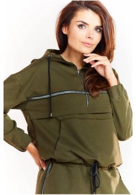 Kaki voľná mikina s trblietavým pásom pre dámy
