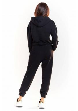 Dámska voľná mikina s trblietavým pásom v čiernej farbe