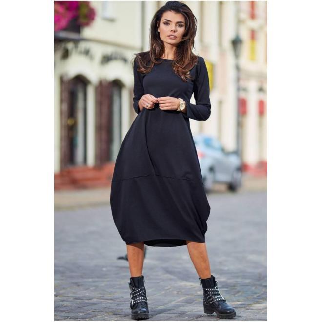 Športové dámske šaty čiernej farby s dlhým rukávom