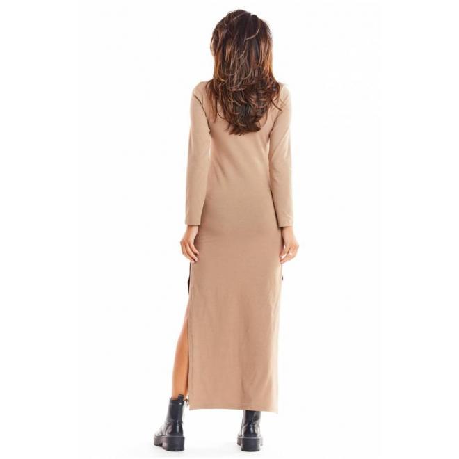 Dámske maxi šaty s dlhým rukávom v béžovej farbe