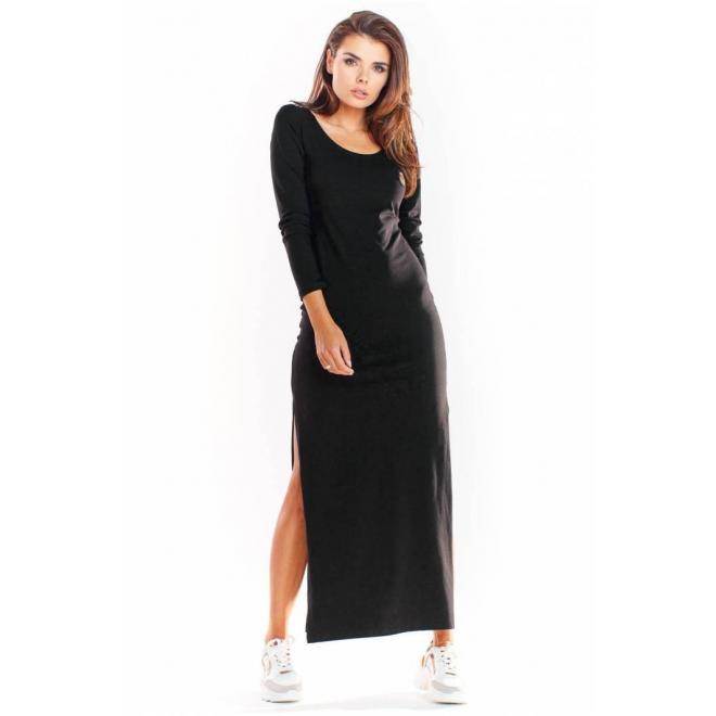 Čierne maxi šaty s dlhým rukávom pre dámy