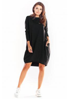 Dámske voľné šaty s dlhým rukávom v čiernej farbe