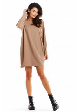 Béžové oversize šaty s dlhým rukávom pre dámy