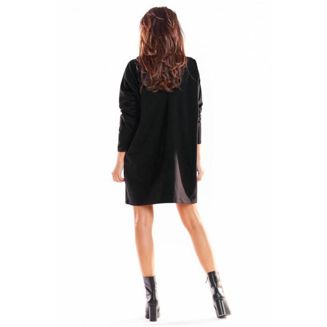 Oversize dámske šaty čiernej farby s dlhým rukávom