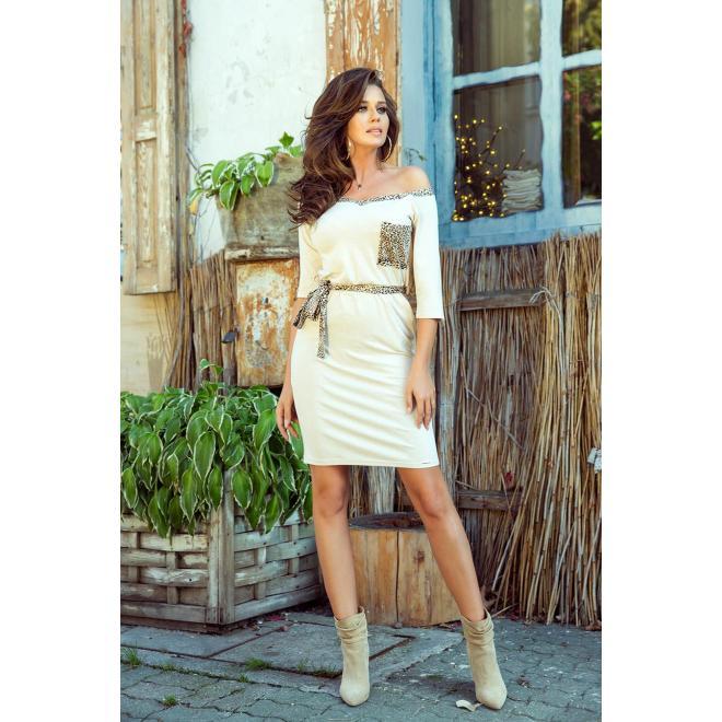 Dámske módne šaty s viazaním v páse v béžovej farbe