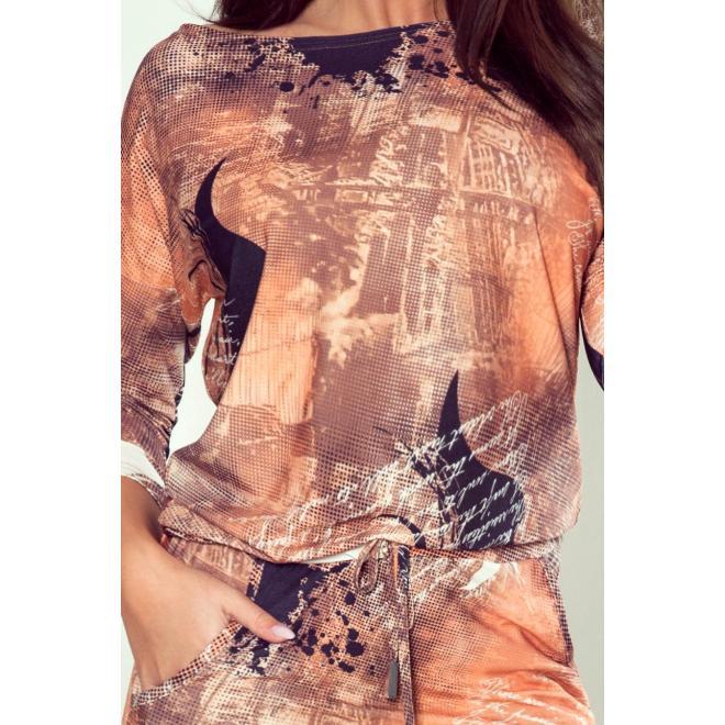 Hnedé športové šaty so vzorom pre dámy