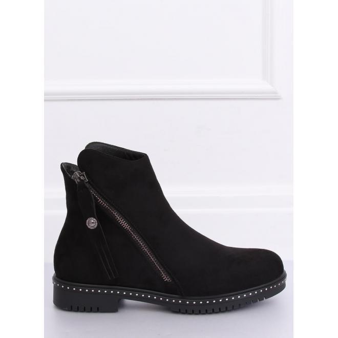 Semišové dámske topánky čiernej farby s dvomi zipsami