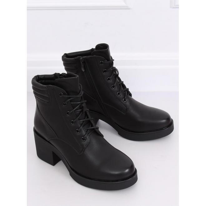 Čierne módne topánky na hrubej podrážke pre dámy