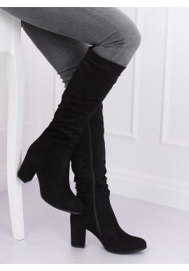 Semišové dámske čižmy čiernej farby na podpätku