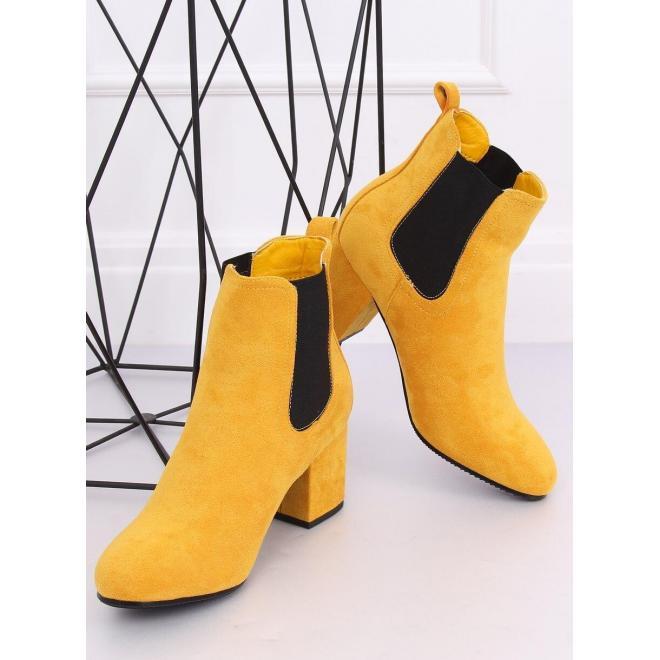 Žlté semišové čižmy na stabilnom opätku pre dámy