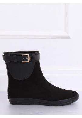 Štýlové dámske gumáky čiernej farby s prackou