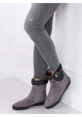 Sivé štýlové gumáky s prackou pre dámy