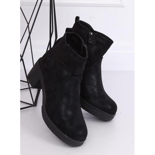 Čierne semišové topánky na širokom opätku pre dámy