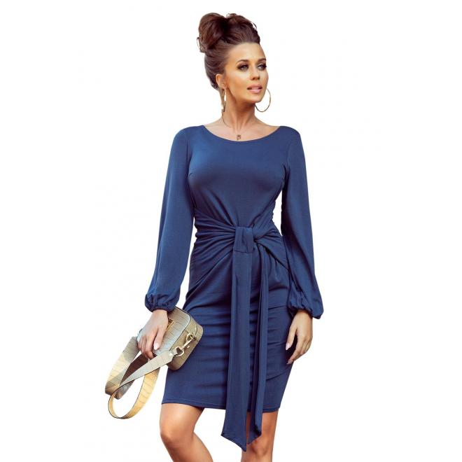 Pohodlné dámske šaty modrej farby s viazaním v páse