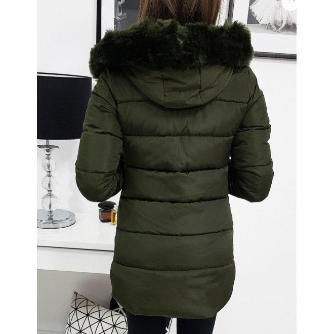 Dámska prešívaná bunda na zimu v olivovej farbe