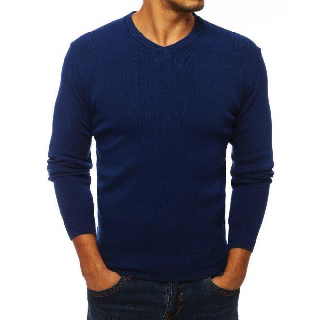 Modrý klasický sveter s výstrihom v tvare V pre pánov