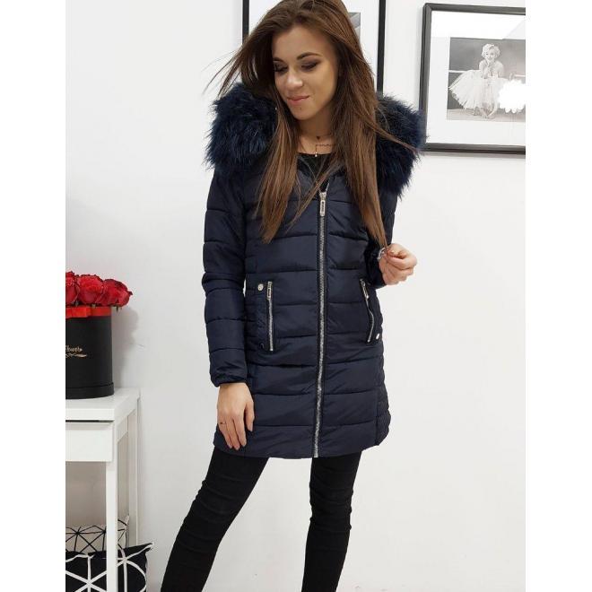 Dámska prešívaná bunda na zimu v tmavomodrej farbe