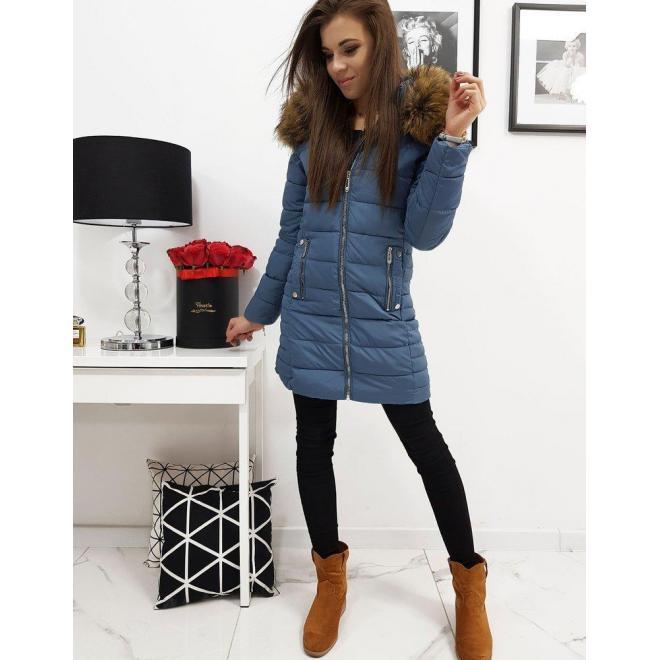 Prešívaná dámska bunda modrej farby na zimu