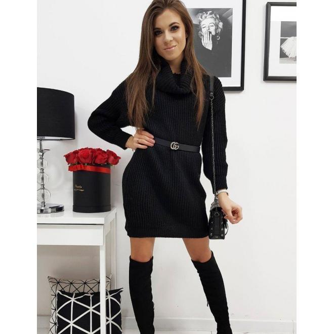 Dámske svetrové šaty s rolákom v čiernej farbe