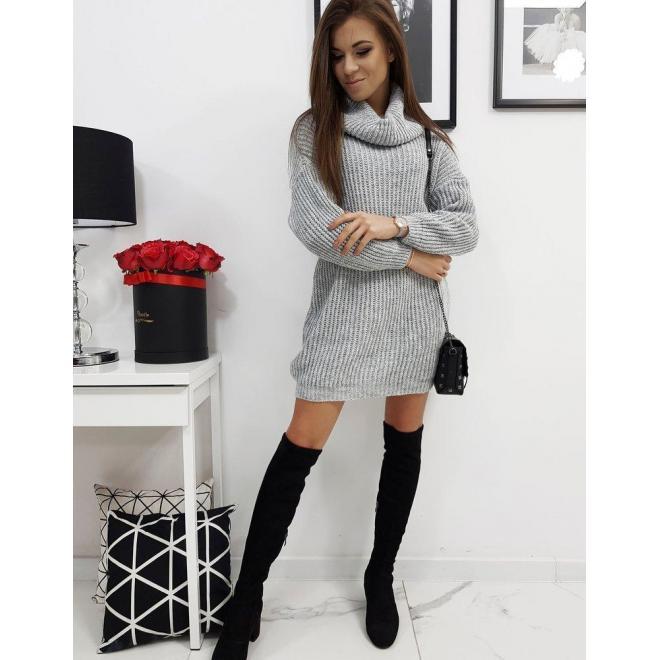 Sivé svetrové šaty s rolákom pre dámy