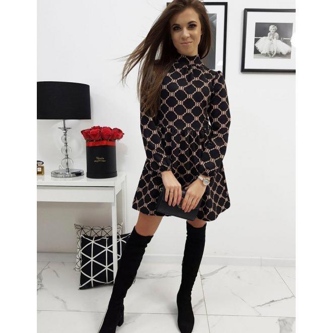 Dámske elegantné šaty so vzorom v čiernej farbe