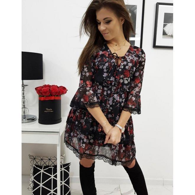 Čierne kvetované šaty s čipkou pre dámy