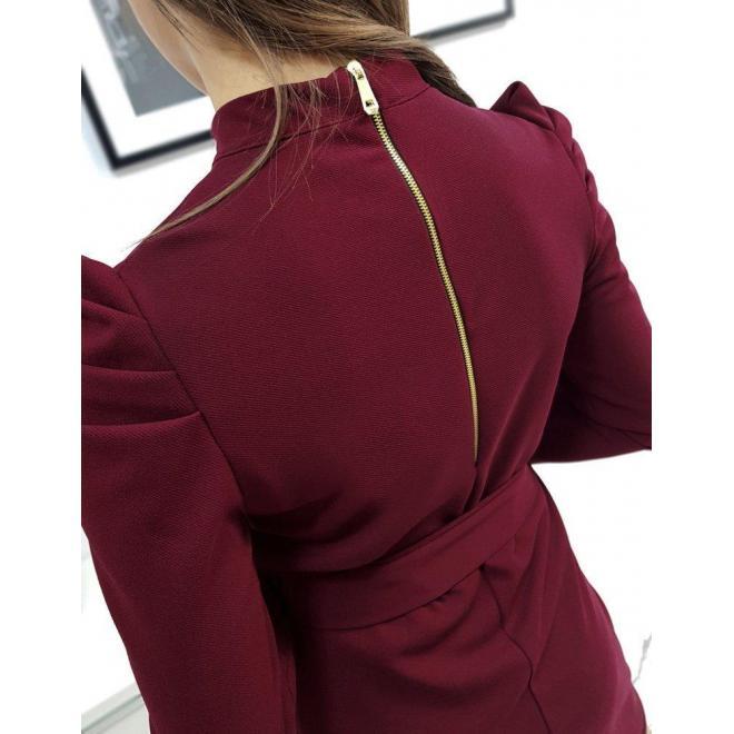 Dámske elegantné šaty s viazaním v páse v bordovej farbe