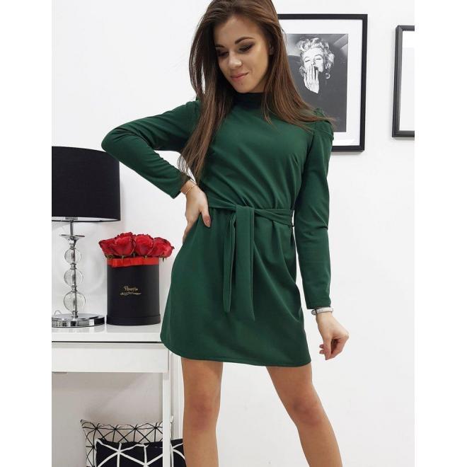 Zelené elegantné šaty s viazaním v páse pre dámy