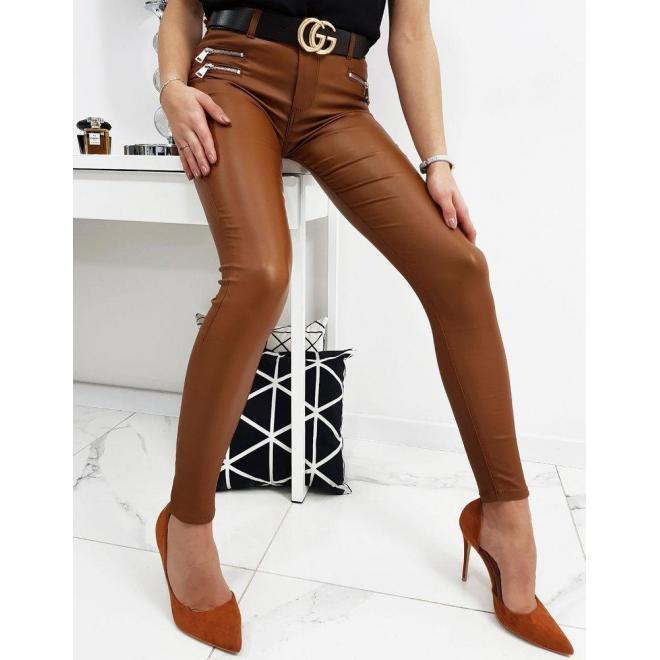 Voskované dámske nohavice hnedej farby