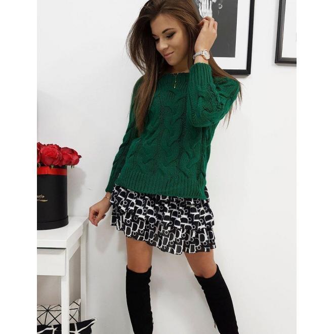 Klasický dámsky sveter zelenej farby s vrkočom