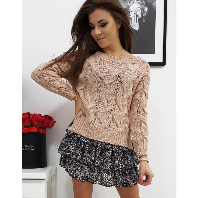 Dámsky klasický sveter s vrkočom v ružovej farbe