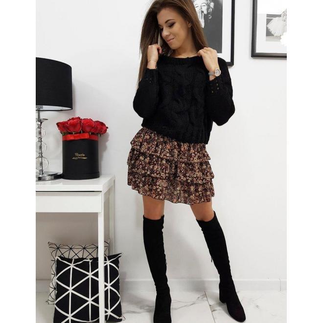 Čierny módny sveter pre dámy