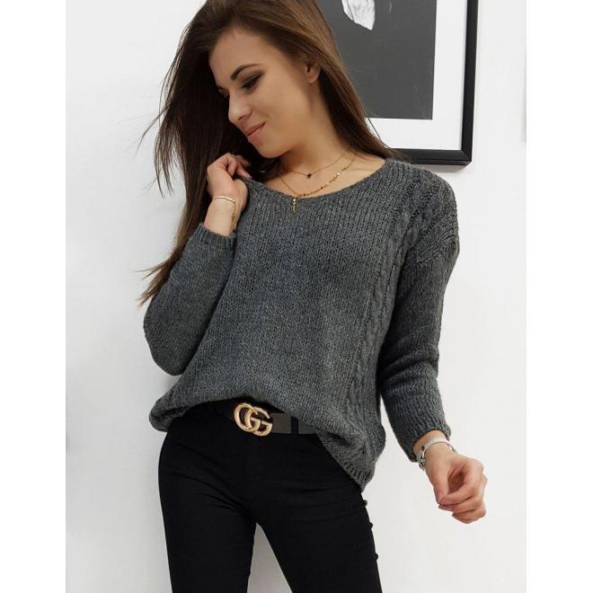 Klasický dámsky sveter tmavosivej farby s výstrihom v tvare V