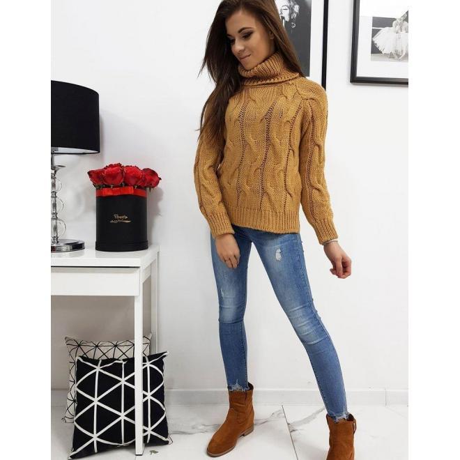 Dámsky štýlový sveter s rolákom v hnedej farbe
