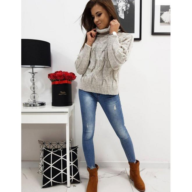 Béžový štýlový sveter s rolákom pre dámy