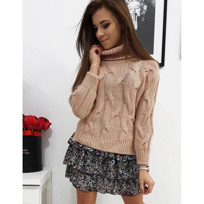 Dámsky štýlový sveter s rolákom v ružovej farbe