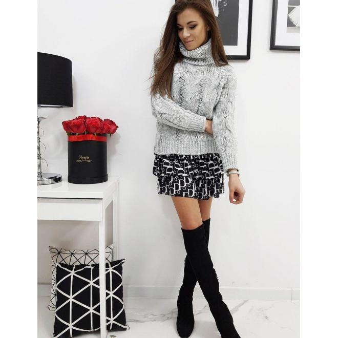 Svetlosivý štýlový sveter s rolákom pre dámy