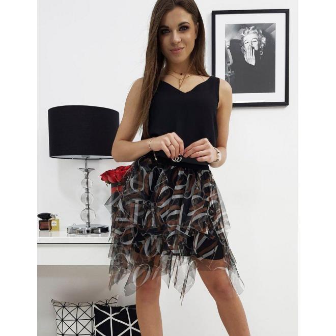 Dámska tylová sukňa so vzorom v čiernej farbe