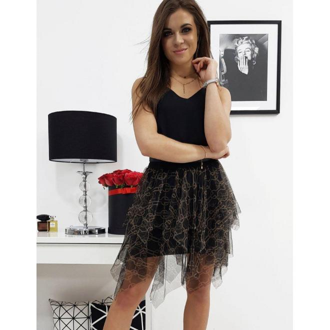 Čierna tylová sukňa so vzorom pre dámy