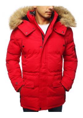Červená zimná bunda s odopínacou kapucňou pre pánov