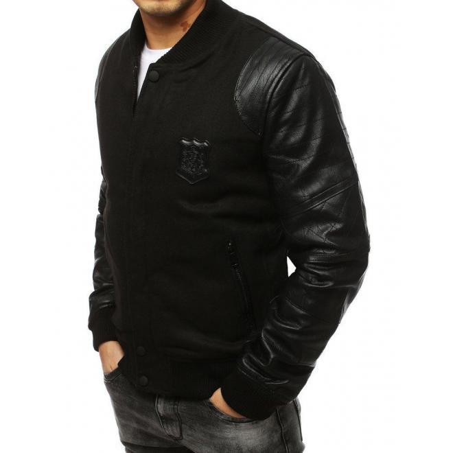 Zimná pánska bunda čiernej farby s rukávmi z ekokože