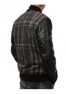 Hnedá zimná bunda s rukávmi z ekokože pre pánov