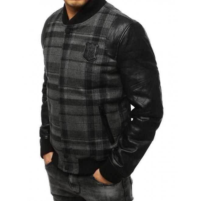 Pánska zimná bunda s rukávmi z ekokože v sivej farbe