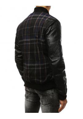Zimné pánske bundy tmavomodrej farby s rukávmi z ekokože