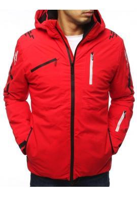 Lyžiarska pánska bunda červenej farby s ozdobnou potlačou